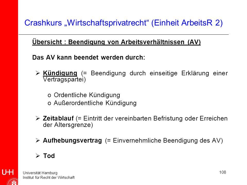 Universität Hamburg Institut für Recht der Wirtschaft 108 Crashkurs Wirtschaftsprivatrecht (Einheit ArbeitsR 2) Übersicht : Beendigung von Arbeitsverh
