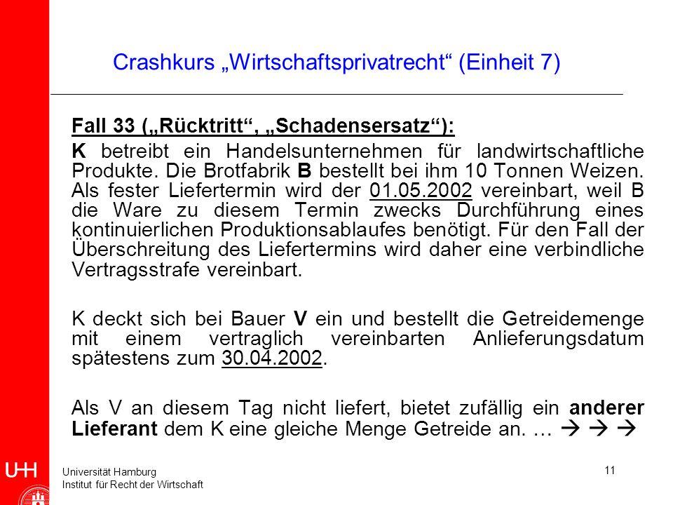 Universität Hamburg Institut für Recht der Wirtschaft 11 Crashkurs Wirtschaftsprivatrecht (Einheit 7) Fall 33 (Rücktritt, Schadensersatz): K betreibt