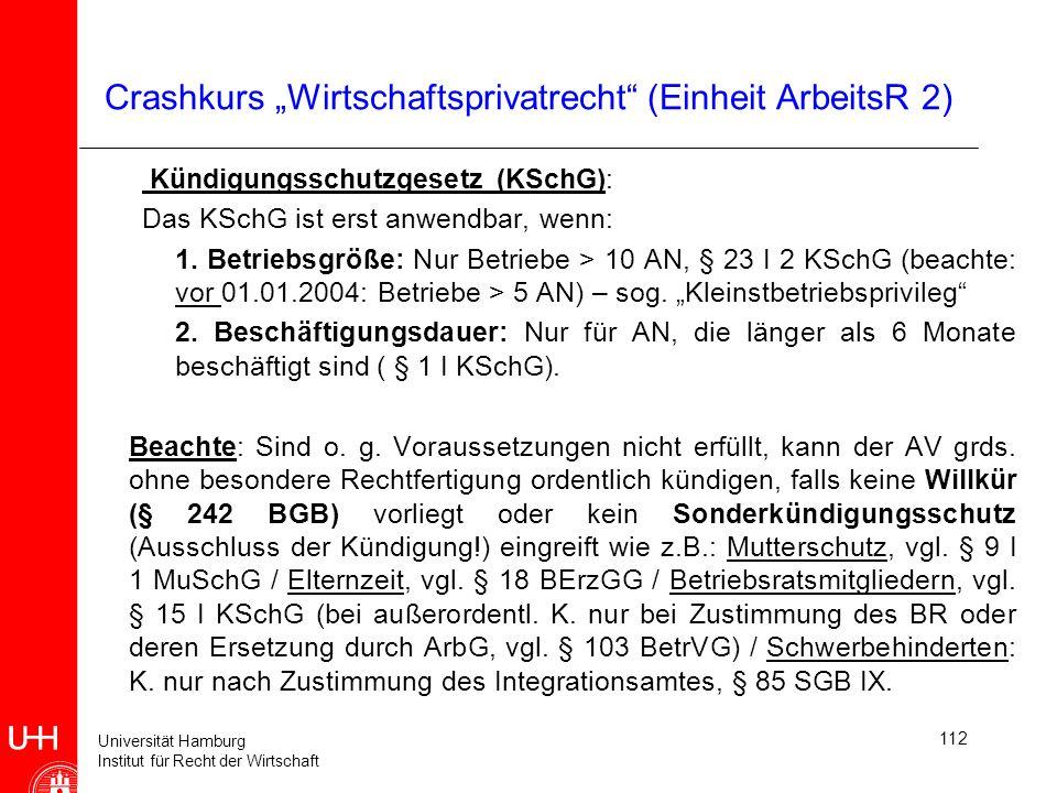Universität Hamburg Institut für Recht der Wirtschaft 112 Crashkurs Wirtschaftsprivatrecht (Einheit ArbeitsR 2) Kündigungsschutzgesetz (KSchG): Das KS