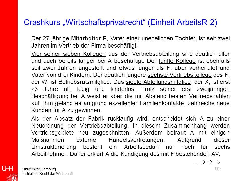 Universität Hamburg Institut für Recht der Wirtschaft 119 Crashkurs Wirtschaftsprivatrecht (Einheit ArbeitsR 2) Der 27-jährige Mitarbeiter F, Vater ei
