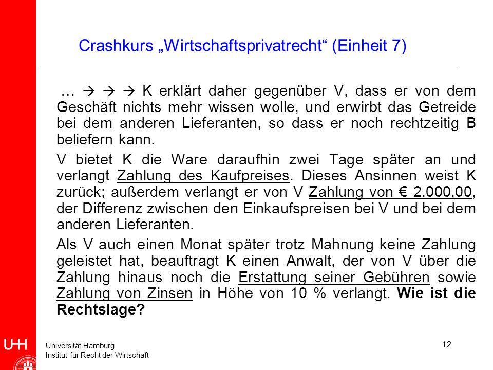 Universität Hamburg Institut für Recht der Wirtschaft 12 Crashkurs Wirtschaftsprivatrecht (Einheit 7) … K erklärt daher gegenüber V, dass er von dem G