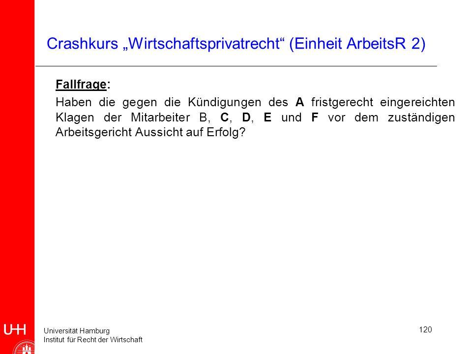 Universität Hamburg Institut für Recht der Wirtschaft 120 Crashkurs Wirtschaftsprivatrecht (Einheit ArbeitsR 2) Fallfrage: Haben die gegen die Kündigu
