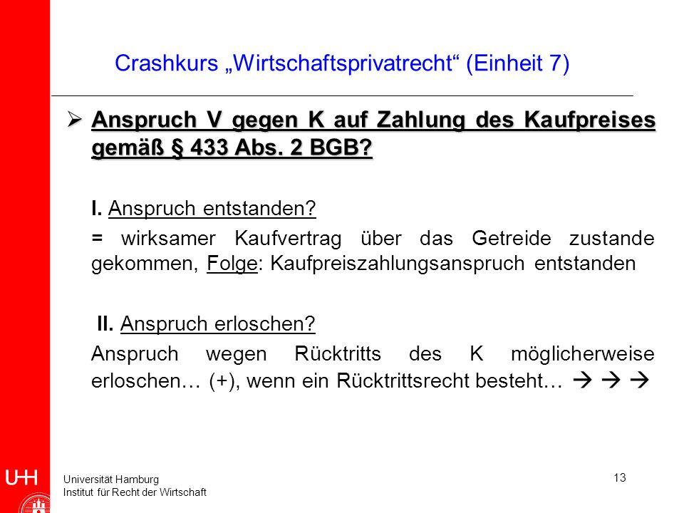 Universität Hamburg Institut für Recht der Wirtschaft 13 Crashkurs Wirtschaftsprivatrecht (Einheit 7) Anspruch V gegen K auf Zahlung des Kaufpreises g