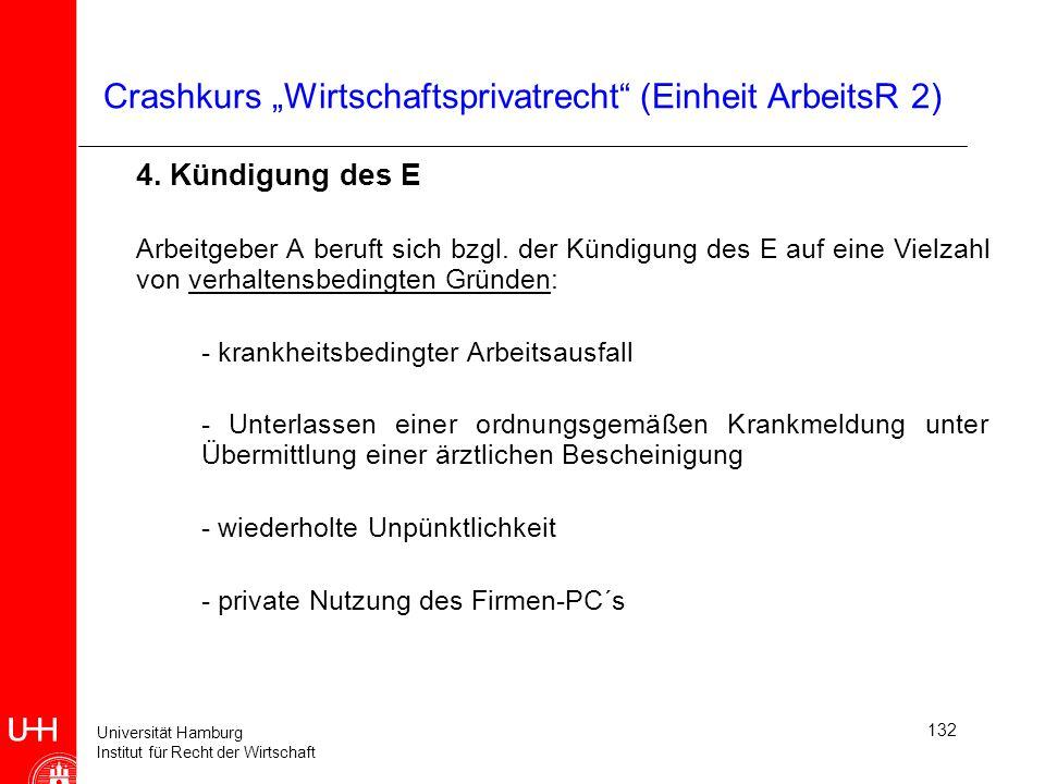 Universität Hamburg Institut für Recht der Wirtschaft 132 Crashkurs Wirtschaftsprivatrecht (Einheit ArbeitsR 2) 4. Kündigung des E Arbeitgeber A beruf