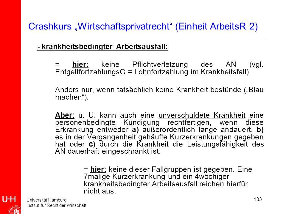 Universität Hamburg Institut für Recht der Wirtschaft 133 Crashkurs Wirtschaftsprivatrecht (Einheit ArbeitsR 2) - krankheitsbedingter Arbeitsausfall:
