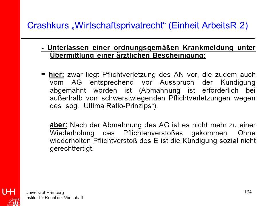 Universität Hamburg Institut für Recht der Wirtschaft 134 Crashkurs Wirtschaftsprivatrecht (Einheit ArbeitsR 2) - Unterlassen einer ordnungsgemäßen Kr