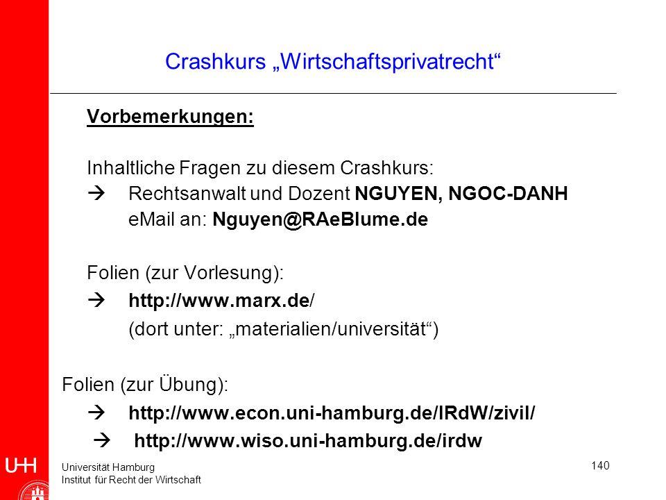 Universität Hamburg Institut für Recht der Wirtschaft 140 Vorbemerkungen: Inhaltliche Fragen zu diesem Crashkurs: Rechtsanwalt und Dozent NGUYEN, NGOC