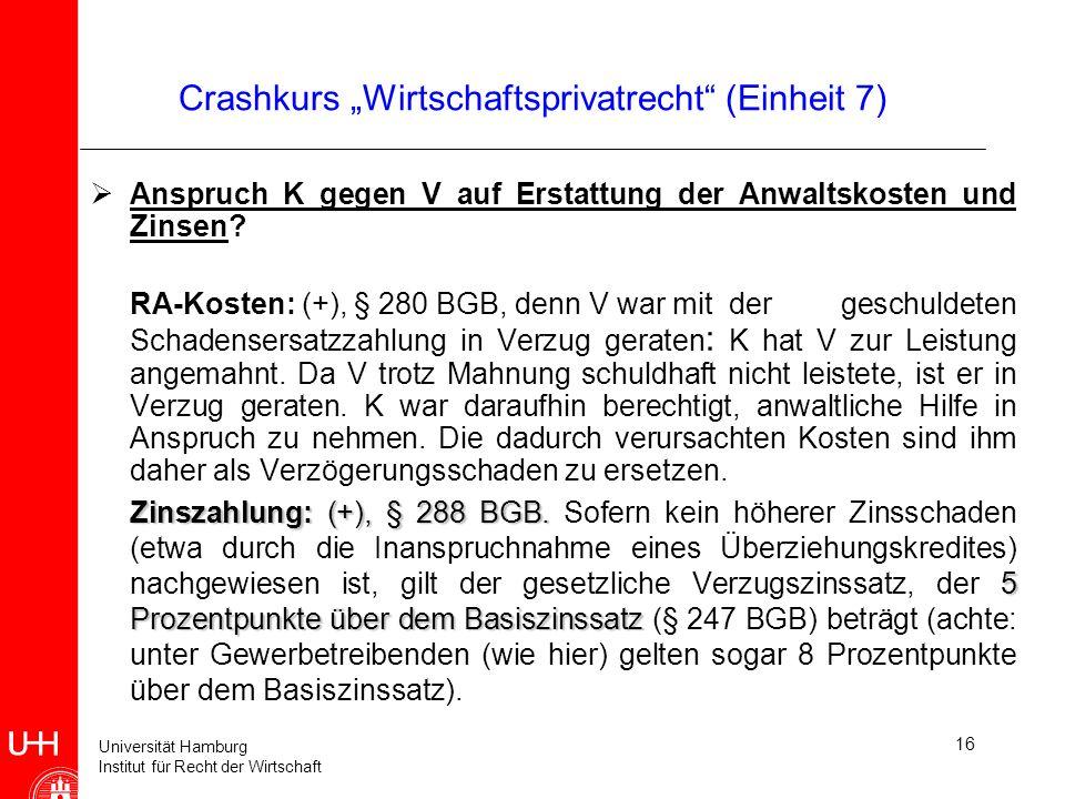 Universität Hamburg Institut für Recht der Wirtschaft 16 Crashkurs Wirtschaftsprivatrecht (Einheit 7) Anspruch K gegen V auf Erstattung der Anwaltskos