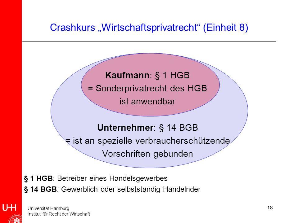 Universität Hamburg Institut für Recht der Wirtschaft 18 Crashkurs Wirtschaftsprivatrecht (Einheit 8) Kaufmann: § 1 HGB = Sonderprivatrecht des HGB is