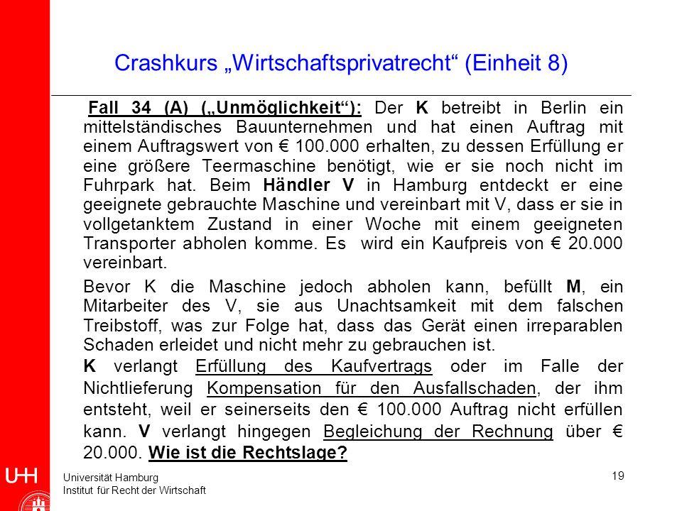 Universität Hamburg Institut für Recht der Wirtschaft 19 Crashkurs Wirtschaftsprivatrecht (Einheit 8) Fall 34 (A) (Unmöglichkeit): Der K betreibt in B