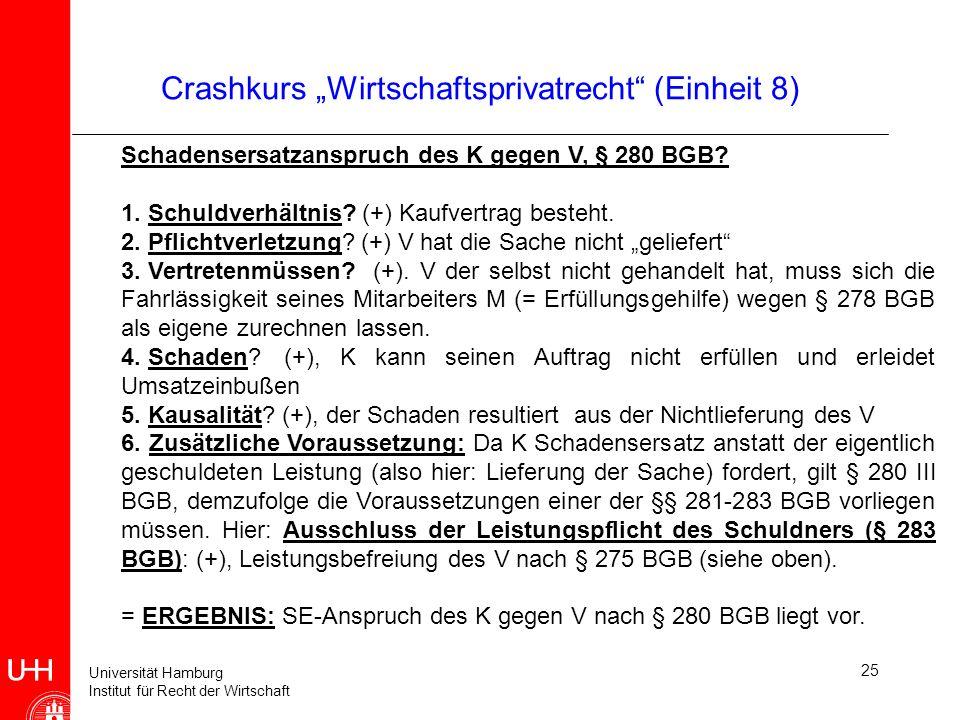 Universität Hamburg Institut für Recht der Wirtschaft 25 Crashkurs Wirtschaftsprivatrecht (Einheit 8) Schadensersatzanspruch des K gegen V, § 280 BGB?
