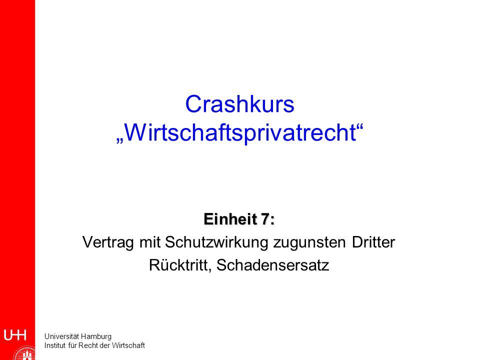 Universität Hamburg Institut für Recht der Wirtschaft Crashkurs Wirtschaftsprivatrecht Einheit 7: Vertrag mit Schutzwirkung zugunsten Dritter Rücktrit