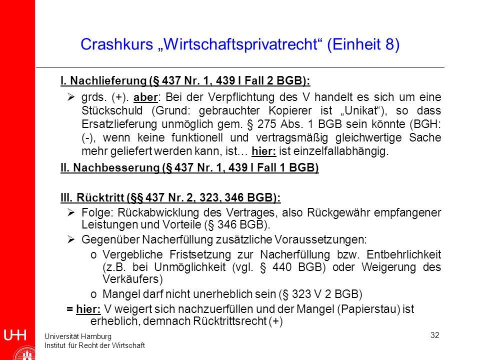 Universität Hamburg Institut für Recht der Wirtschaft 32 Crashkurs Wirtschaftsprivatrecht (Einheit 8) I. Nachlieferung (§ 437 Nr. 1, 439 I Fall 2 BGB)