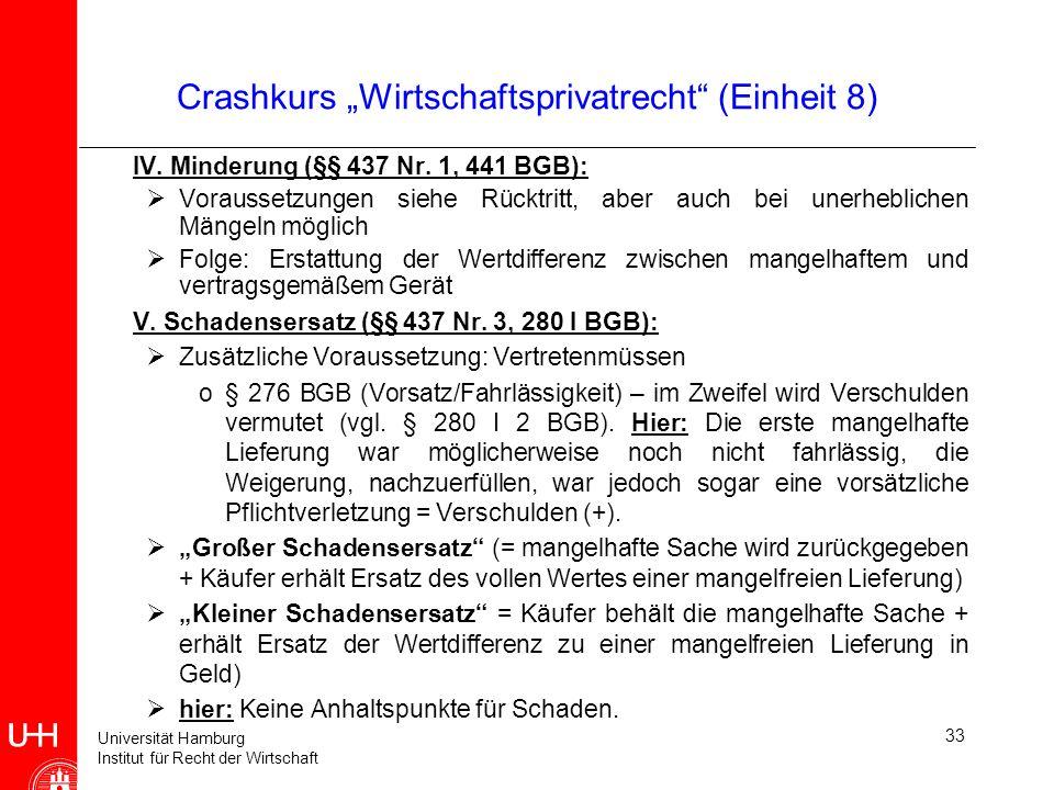 Universität Hamburg Institut für Recht der Wirtschaft 33 Crashkurs Wirtschaftsprivatrecht (Einheit 8) IV. Minderung (§§ 437 Nr. 1, 441 BGB): Vorausset