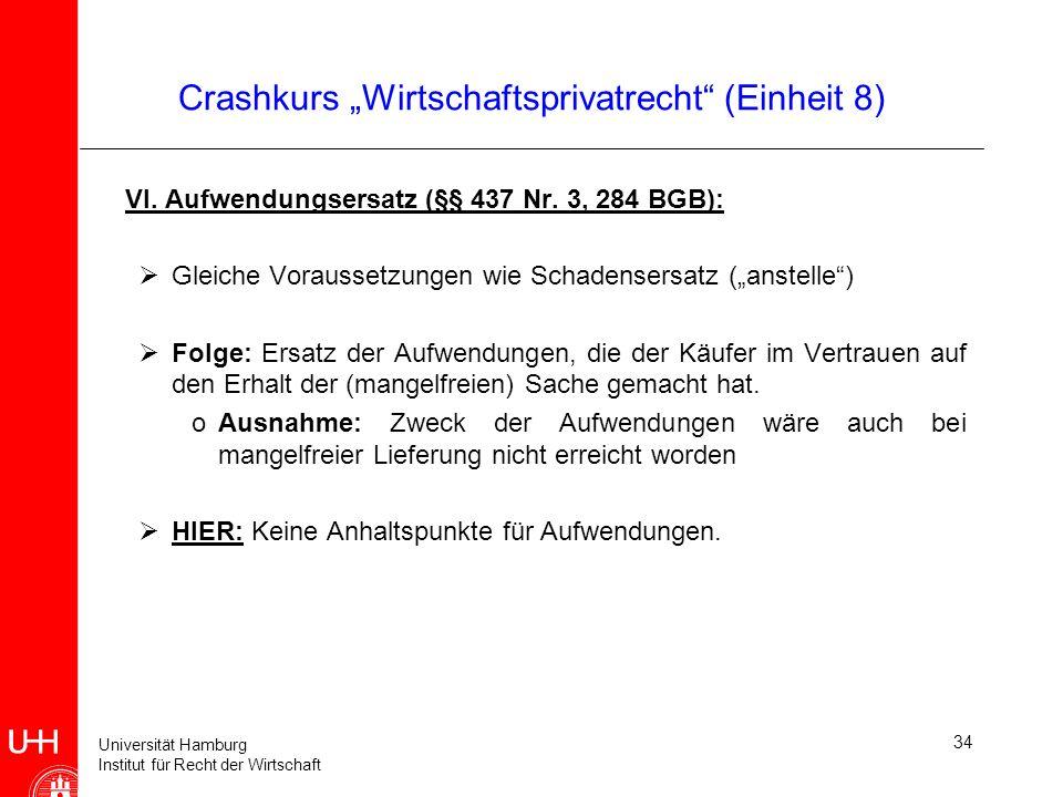 Universität Hamburg Institut für Recht der Wirtschaft 34 Crashkurs Wirtschaftsprivatrecht (Einheit 8) VI. Aufwendungsersatz (§§ 437 Nr. 3, 284 BGB): G