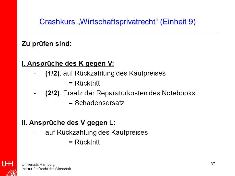 Universität Hamburg Institut für Recht der Wirtschaft 37 Crashkurs Wirtschaftsprivatrecht (Einheit 9) Zu prüfen sind: I. Ansprüche des K gegen V: -(1/
