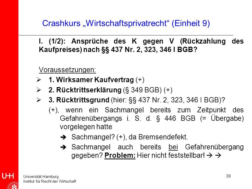 Universität Hamburg Institut für Recht der Wirtschaft 39 Crashkurs Wirtschaftsprivatrecht (Einheit 9) I. (1/2): Ansprüche des K gegen V (Rückzahlung d