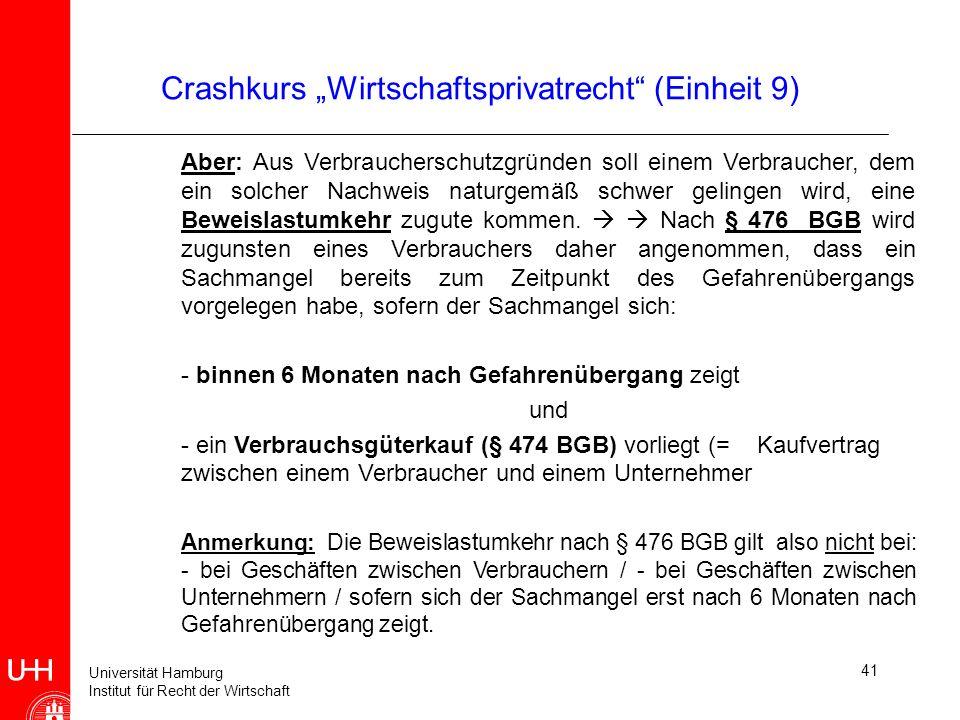 Universität Hamburg Institut für Recht der Wirtschaft 41 Crashkurs Wirtschaftsprivatrecht (Einheit 9) Aber: Aus Verbraucherschutzgründen soll einem Ve