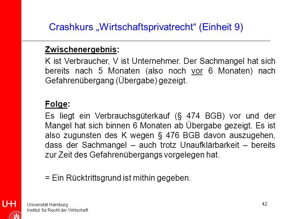 Universität Hamburg Institut für Recht der Wirtschaft 42 Crashkurs Wirtschaftsprivatrecht (Einheit 9) Zwischenergebnis: K ist Verbraucher, V ist Unter