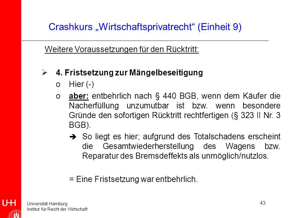 Universität Hamburg Institut für Recht der Wirtschaft 43 Crashkurs Wirtschaftsprivatrecht (Einheit 9) Weitere Voraussetzungen für den Rücktritt: 4. Fr