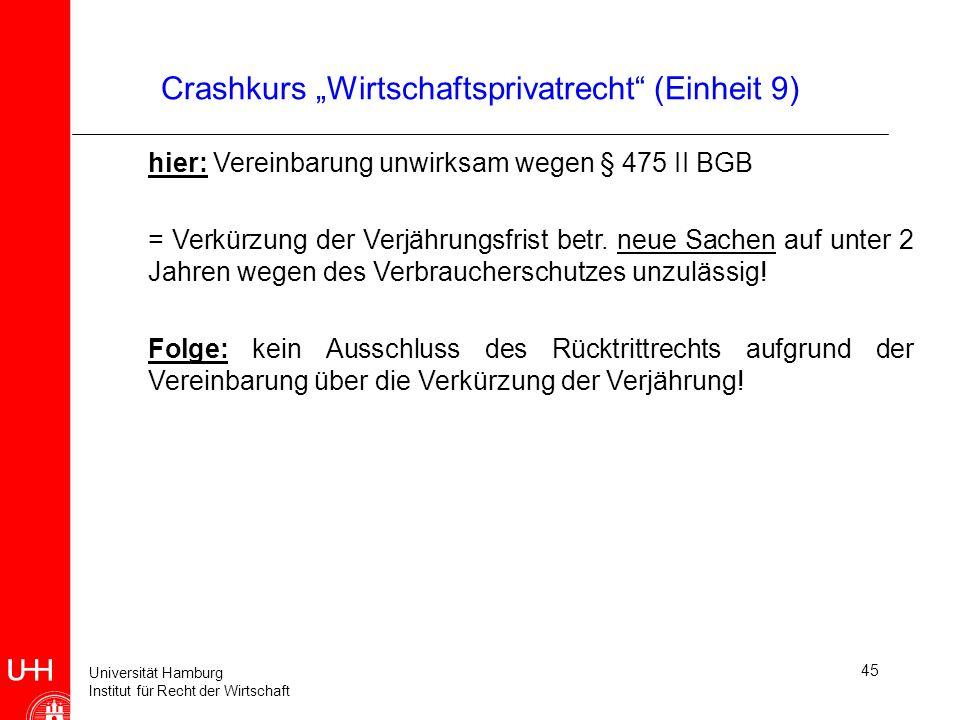 Universität Hamburg Institut für Recht der Wirtschaft 45 Crashkurs Wirtschaftsprivatrecht (Einheit 9) hier: Vereinbarung unwirksam wegen § 475 II BGB