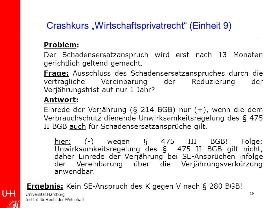 Universität Hamburg Institut für Recht der Wirtschaft 48 Crashkurs Wirtschaftsprivatrecht (Einheit 9) Problem: Der Schadensersatzanspruch wird erst na