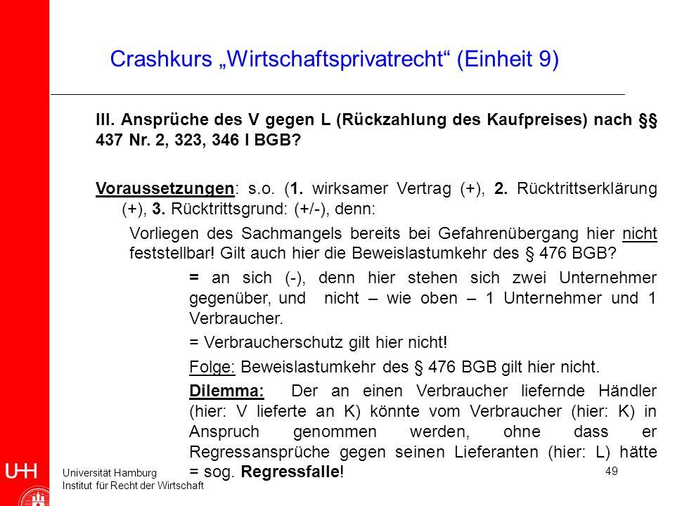 Universität Hamburg Institut für Recht der Wirtschaft 49 Crashkurs Wirtschaftsprivatrecht (Einheit 9) III. Ansprüche des V gegen L (Rückzahlung des Ka