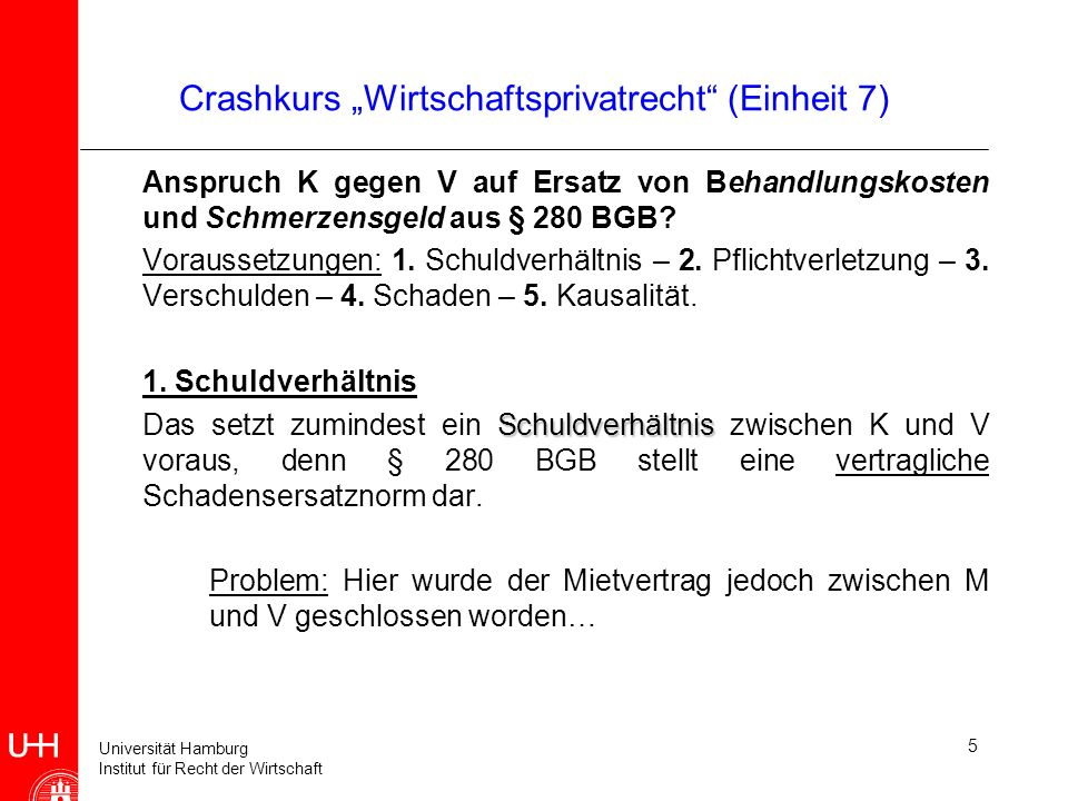 Universität Hamburg Institut für Recht der Wirtschaft 5 Crashkurs Wirtschaftsprivatrecht (Einheit 7) Anspruch K gegen V auf Ersatz von Behandlungskost