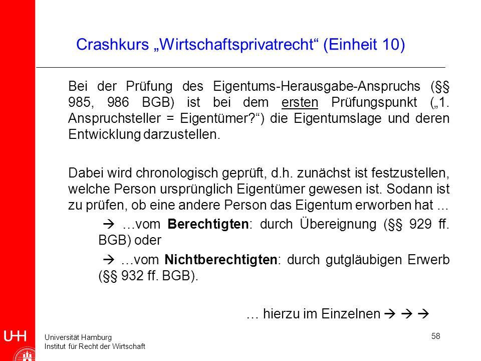 Universität Hamburg Institut für Recht der Wirtschaft Crashkurs Wirtschaftsprivatrecht (Einheit 10) Bei der Prüfung des Eigentums-Herausgabe-Anspruchs