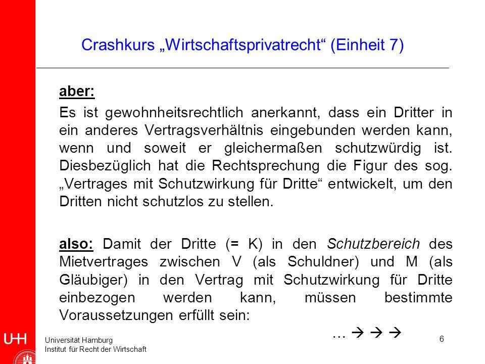 Universität Hamburg Institut für Recht der Wirtschaft 6 Crashkurs Wirtschaftsprivatrecht (Einheit 7) aber: Es ist gewohnheitsrechtlich anerkannt, dass