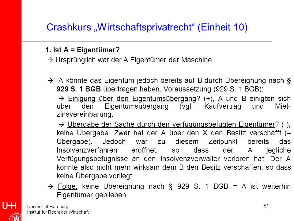 Universität Hamburg Institut für Recht der Wirtschaft 61 Crashkurs Wirtschaftsprivatrecht (Einheit 10) 1. Ist A = Eigentümer? Ursprünglich war der A E