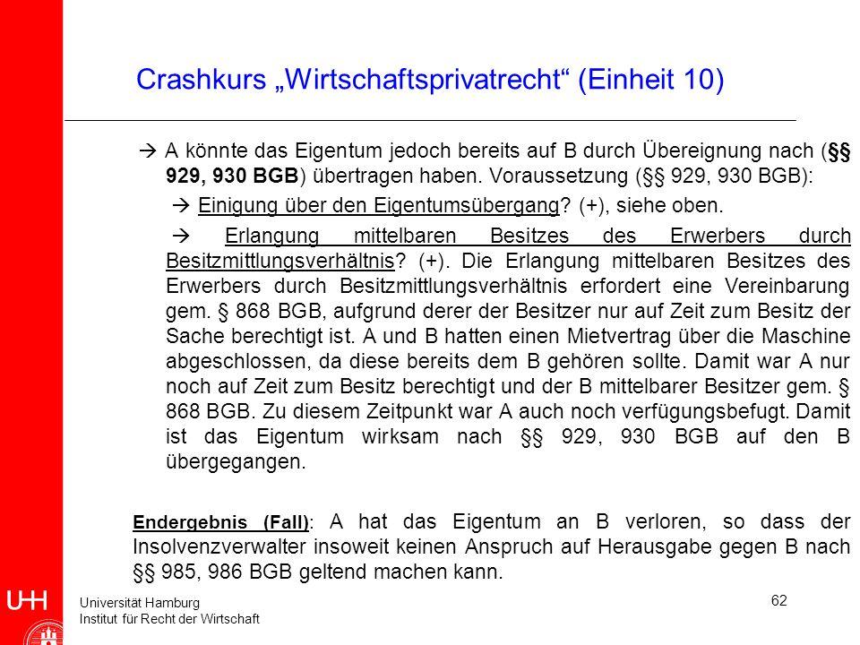 Universität Hamburg Institut für Recht der Wirtschaft 62 Crashkurs Wirtschaftsprivatrecht (Einheit 10) A könnte das Eigentum jedoch bereits auf B durc