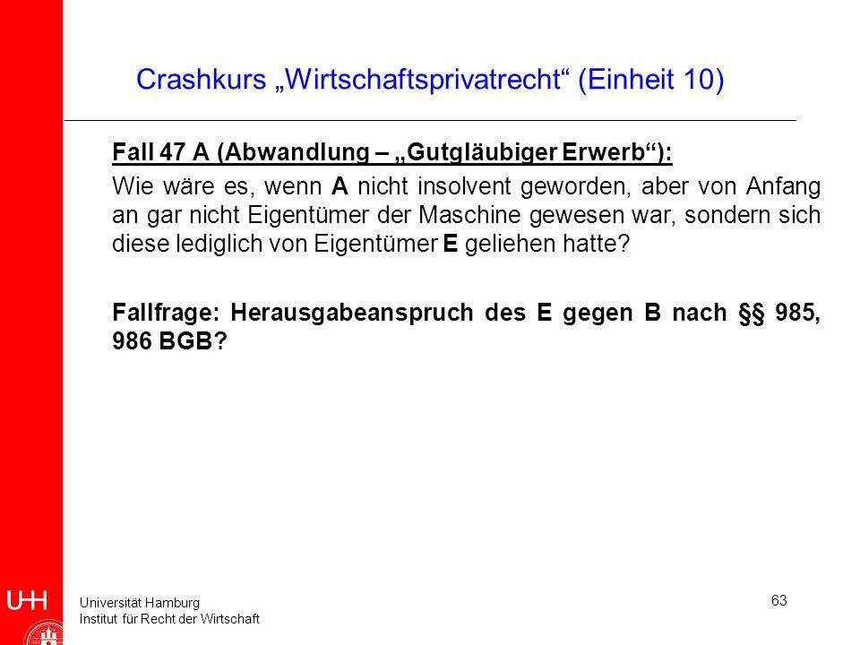 Universität Hamburg Institut für Recht der Wirtschaft 63 Crashkurs Wirtschaftsprivatrecht (Einheit 10) Fall 47 A (Abwandlung – Gutgläubiger Erwerb): W