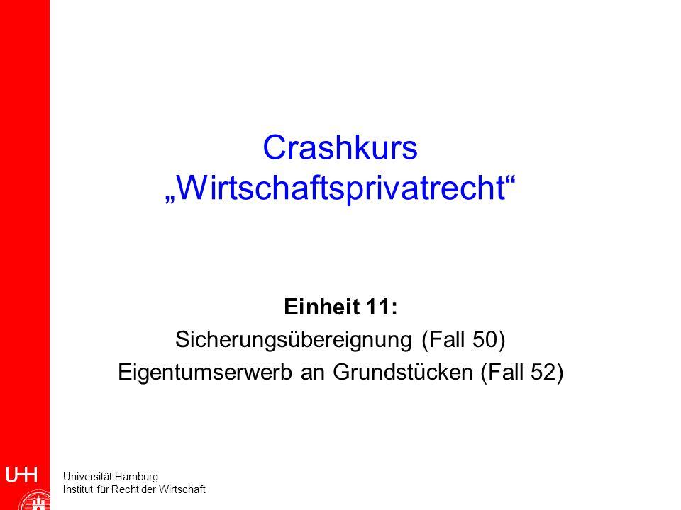 Universität Hamburg Institut für Recht der Wirtschaft Crashkurs Wirtschaftsprivatrecht Einheit 11: Sicherungsübereignung (Fall 50) Eigentumserwerb an