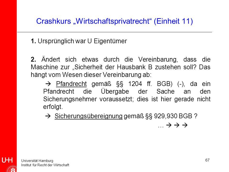 Universität Hamburg Institut für Recht der Wirtschaft 67 Crashkurs Wirtschaftsprivatrecht (Einheit 11) 1. Ursprünglich war U Eigentümer 2. Ändert sich