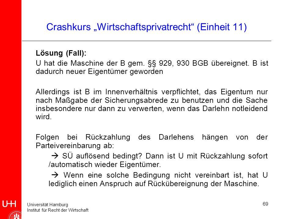 Universität Hamburg Institut für Recht der Wirtschaft 69 Crashkurs Wirtschaftsprivatrecht (Einheit 11) Lösung (Fall): U hat die Maschine der B gem. §§