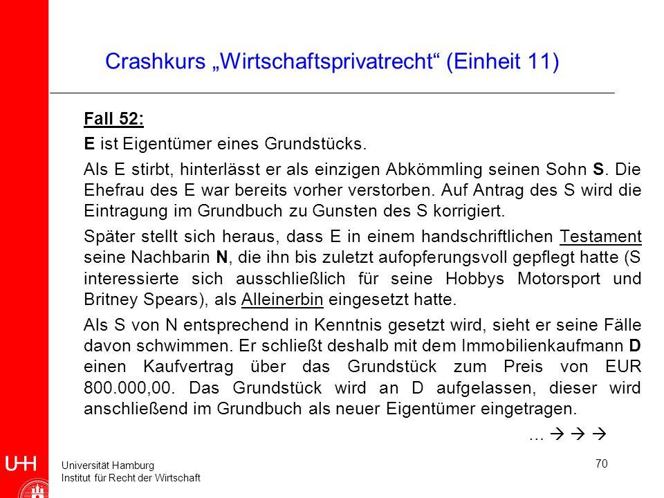 Universität Hamburg Institut für Recht der Wirtschaft Crashkurs Wirtschaftsprivatrecht (Einheit 11) Fall 52: E ist Eigentümer eines Grundstücks. Als E