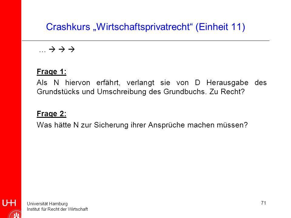 Universität Hamburg Institut für Recht der Wirtschaft Crashkurs Wirtschaftsprivatrecht (Einheit 11) … Frage 1: Als N hiervon erfährt, verlangt sie von