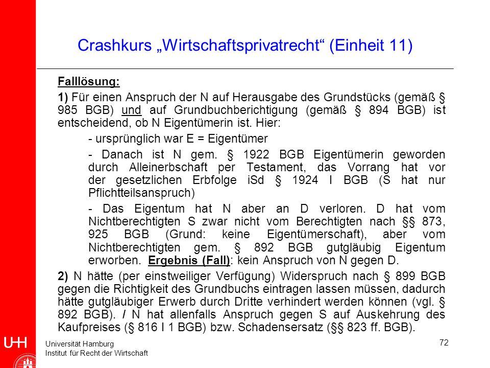 Universität Hamburg Institut für Recht der Wirtschaft 72 Crashkurs Wirtschaftsprivatrecht (Einheit 11) Falllösung: 1) Für einen Anspruch der N auf Her