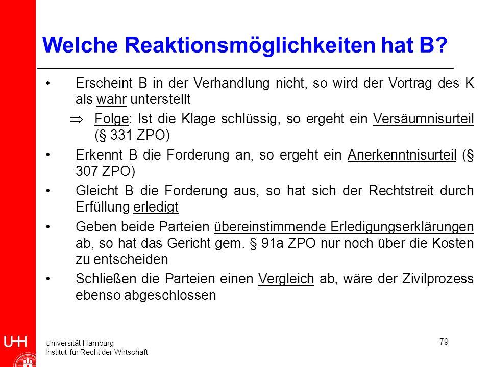 Universität Hamburg Institut für Recht der Wirtschaft 79 Welche Reaktionsmöglichkeiten hat B? Erscheint B in der Verhandlung nicht, so wird der Vortra