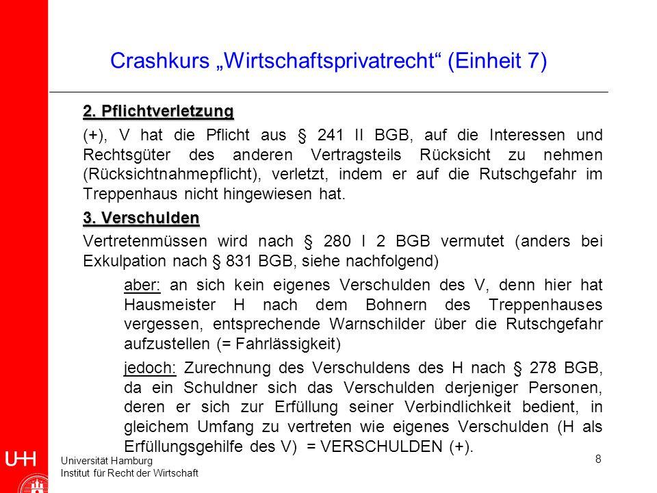 Universität Hamburg Institut für Recht der Wirtschaft 8 Crashkurs Wirtschaftsprivatrecht (Einheit 7) 2. Pflichtverletzung (+), V hat die Pflicht aus §
