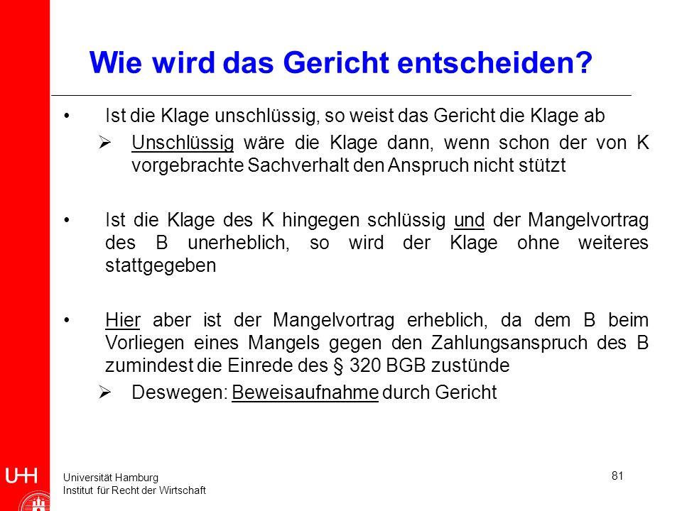 Universität Hamburg Institut für Recht der Wirtschaft 81 Wie wird das Gericht entscheiden? Ist die Klage unschlüssig, so weist das Gericht die Klage a