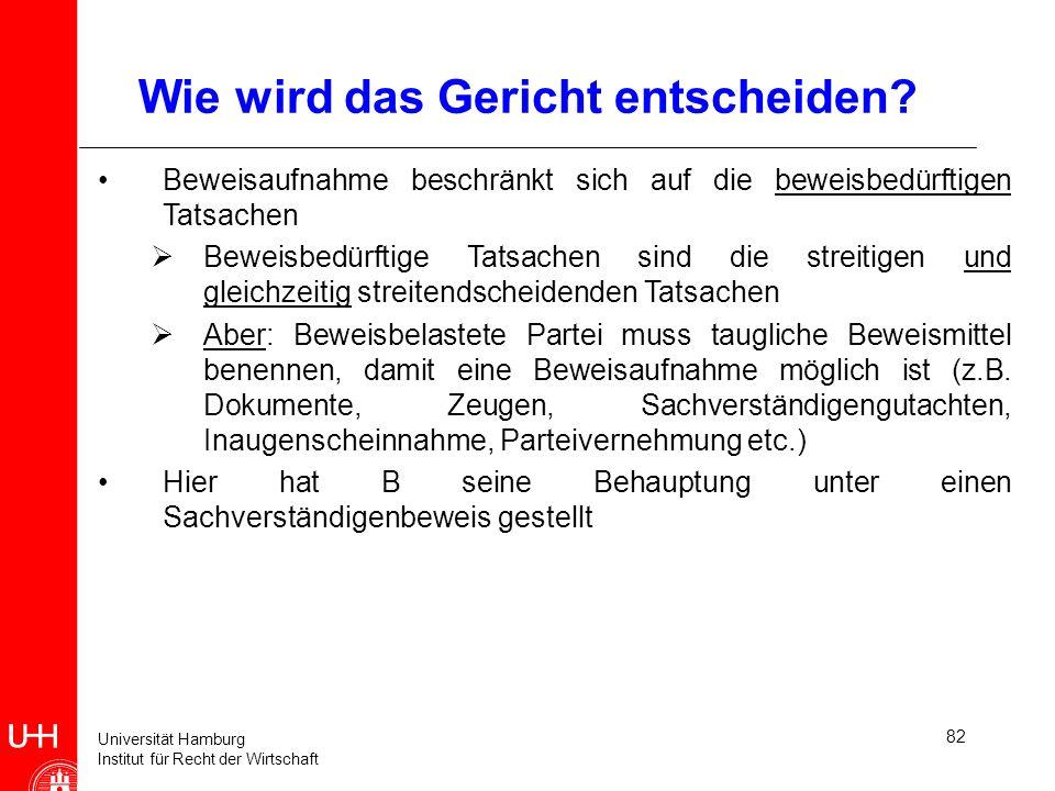Universität Hamburg Institut für Recht der Wirtschaft 82 Wie wird das Gericht entscheiden? Beweisaufnahme beschränkt sich auf die beweisbedürftigen Ta