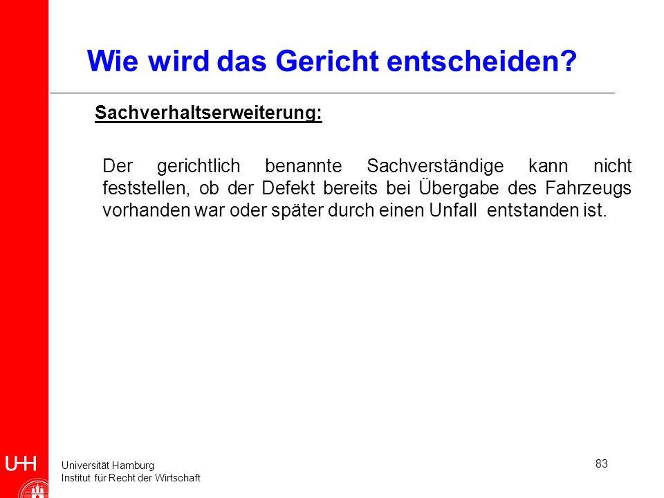 Universität Hamburg Institut für Recht der Wirtschaft 83 Wie wird das Gericht entscheiden? Sachverhaltserweiterung: Der gerichtlich benannte Sachverst