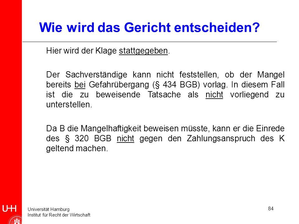 Universität Hamburg Institut für Recht der Wirtschaft 84 Wie wird das Gericht entscheiden? Hier wird der Klage stattgegeben. Der Sachverständige kann
