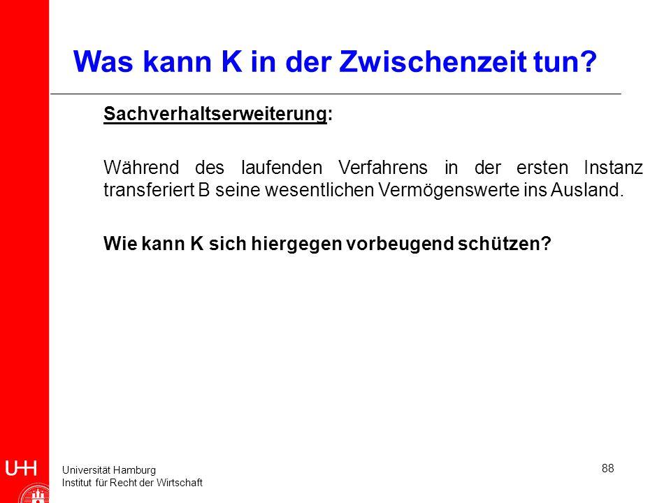 Universität Hamburg Institut für Recht der Wirtschaft 88 Was kann K in der Zwischenzeit tun? Sachverhaltserweiterung: Während des laufenden Verfahrens
