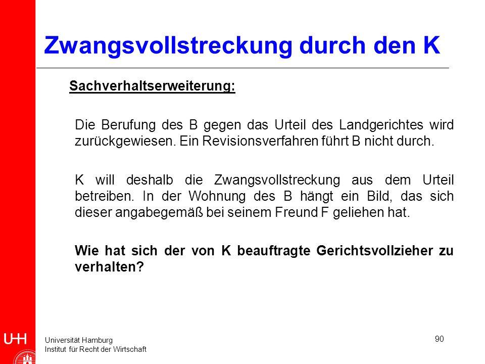 Universität Hamburg Institut für Recht der Wirtschaft 90 Zwangsvollstreckung durch den K Sachverhaltserweiterung: Die Berufung des B gegen das Urteil