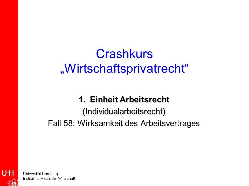 Universität Hamburg Institut für Recht der Wirtschaft Crashkurs Wirtschaftsprivatrecht 1.Einheit Arbeitsrecht (Individualarbeitsrecht) Fall 58: Wirksa