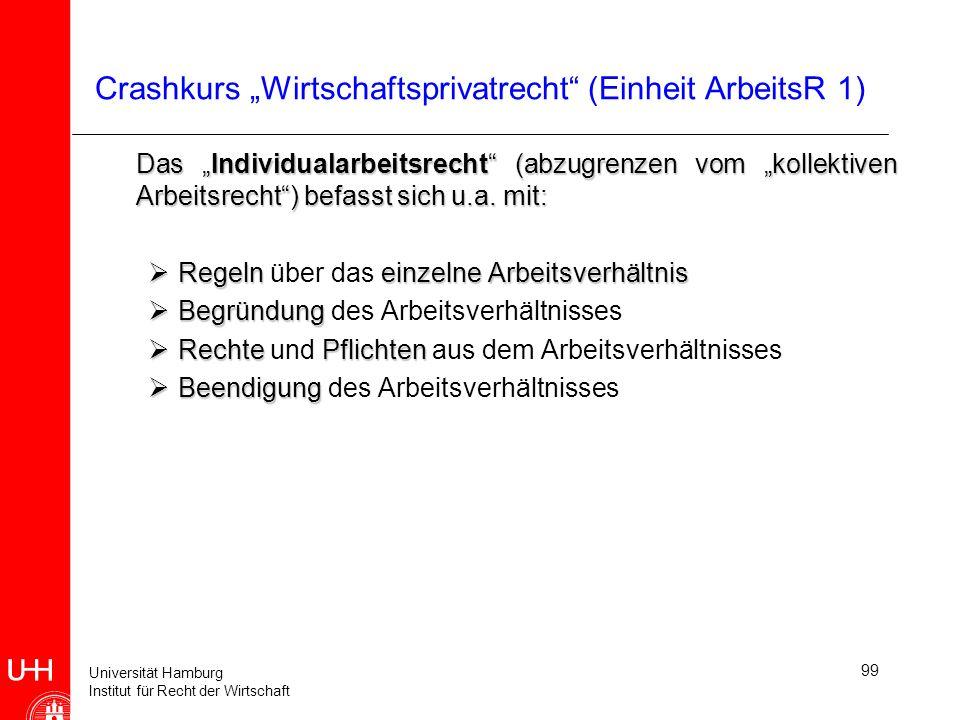 Universität Hamburg Institut für Recht der Wirtschaft 99 Crashkurs Wirtschaftsprivatrecht (Einheit ArbeitsR 1) Das Individualarbeitsrecht (abzugrenzen