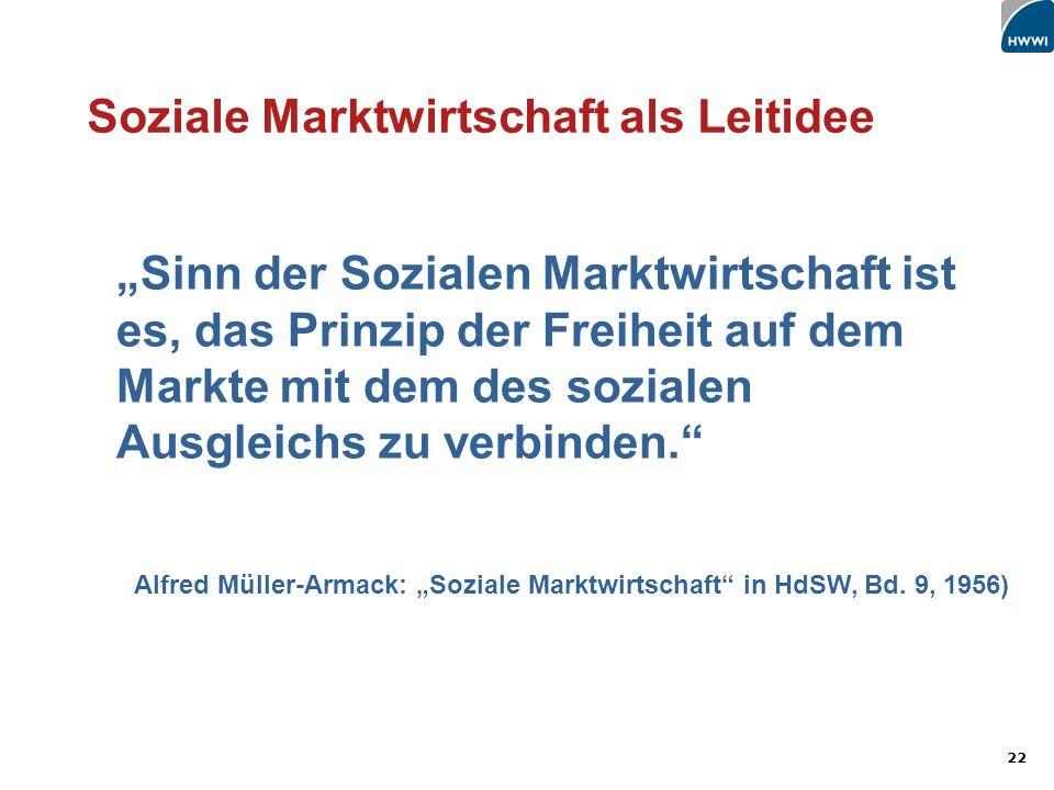 22 Soziale Marktwirtschaft als Leitidee Sinn der Sozialen Marktwirtschaft ist es, das Prinzip der Freiheit auf dem Markte mit dem des sozialen Ausgleichs zu verbinden.